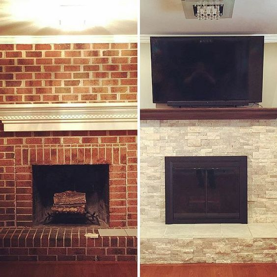 Need a new look in your living room try refacing the - How to make a brick fireplace look modern ...