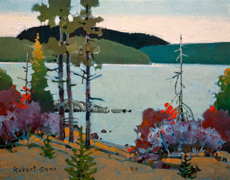 On Big Stone Bay II, Lake of the Woods, by Robert Genn 11 x 14 - acrylic $2800 Unframed