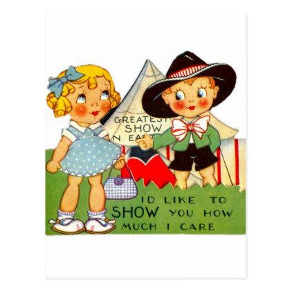 Vintage Old Valentine Little Girl & Boy Circus Postcard - valentines day gifts diy couples special day