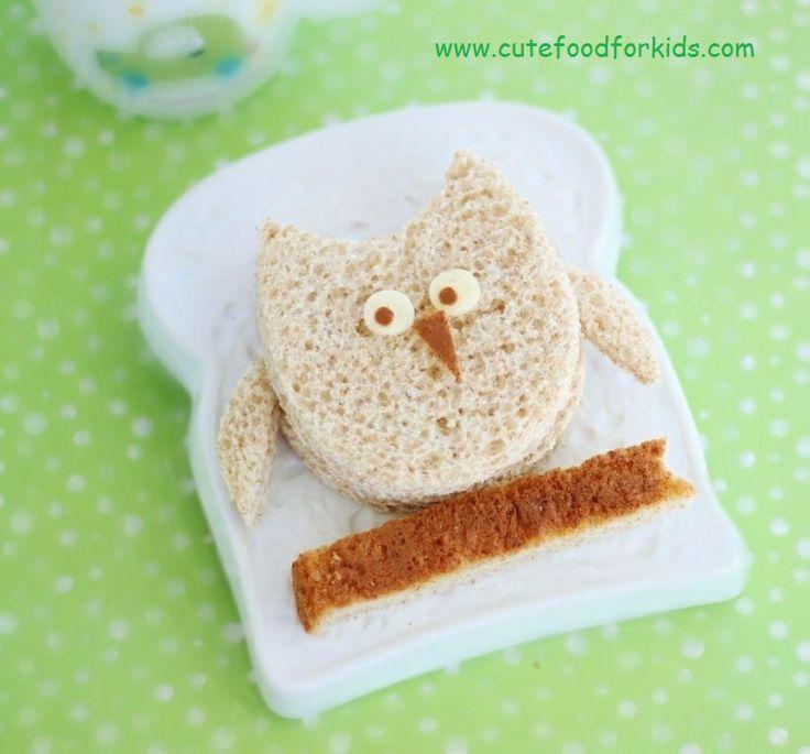 Cute Food For Kids?: Sandwich Owl using egg shape cookie cutter