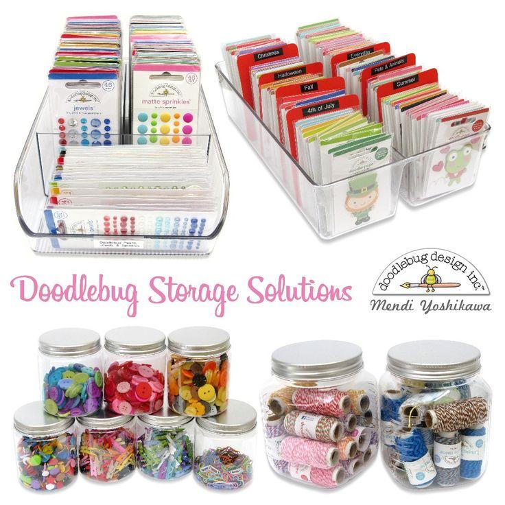 Doodlebug Embellishment Craft Room Storage Tips by Mendi Yoshikawa
