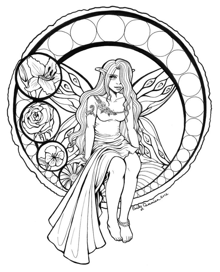 stained glass fairy lineart by otakuec - Fairy Coloring Book