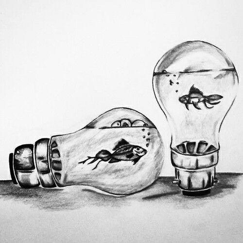 Fish in lightbulbs drawing beautiful illustration