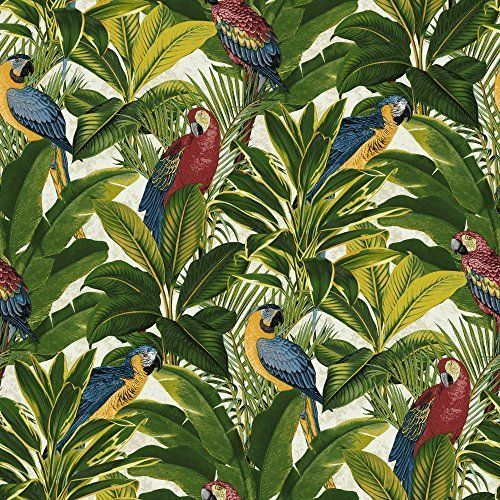 Grandeco Ideco Exotic Bird Pattern Parrot Motif Tropical Leaves Wallpaper (Red A11502)