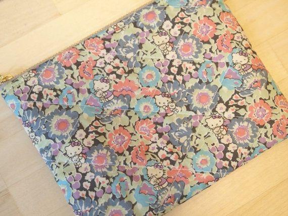 Cute Hello Kitty Liberty padded zipper pouch cute by sewsewnsew