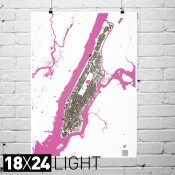 """Manhattan Structures 18""""x24"""" Print Map in Dark/Light $35"""