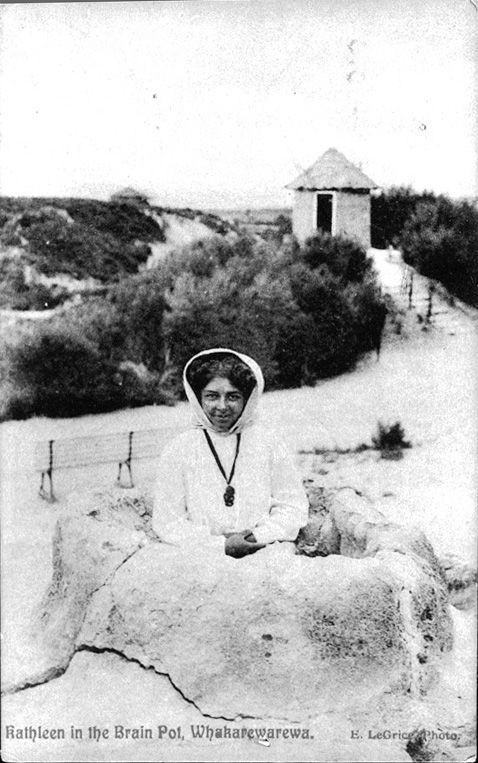 Guide Kathleen Hunt at Whakarewarewa. This image is from a postcard c1910
