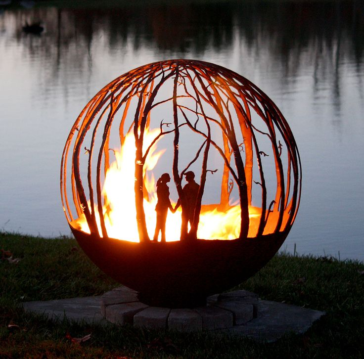 The Winter Woods Peaceful Birch Tree Fire Pit Sphere Seems