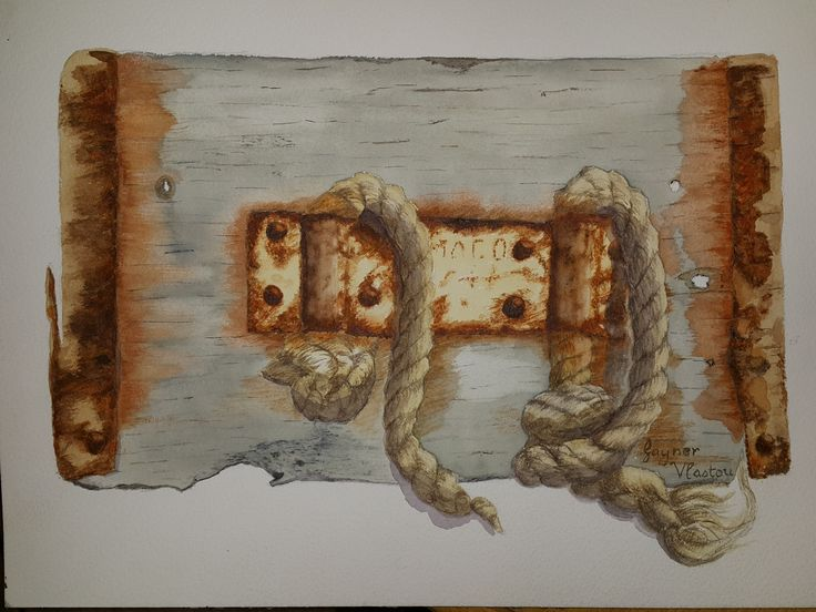 Wood, rope and rust, in water colour by Gayner Vlastou