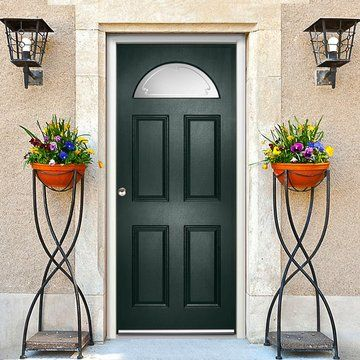 The double glazing is safety - secure and frosted with the stylish clear lined designer glass. #glazeddoor #directdoor
