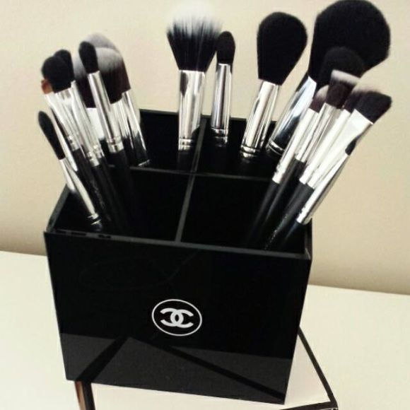 Chanel vanity makeup brush organizer New with box. Doesn't have to be use for make up brushes. You can use it on your desk for pens and pencils. I give discounts on bundles :-) CHANEL Makeup Brushes & Tools