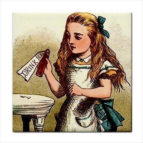 Alice In Wonderland Drink Me Color Art Ceramic Tile #aliceinwonderland #fiction #kitchen #art #illustration #ceramic