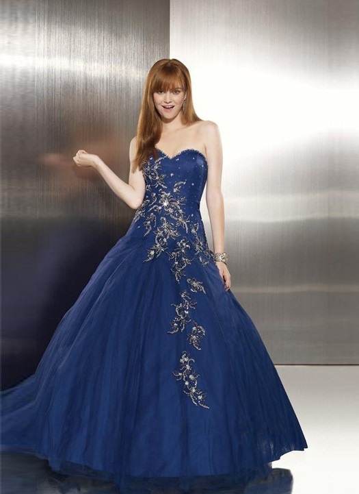Stunning Embroidered Blue Quinceanera Dress Indian
