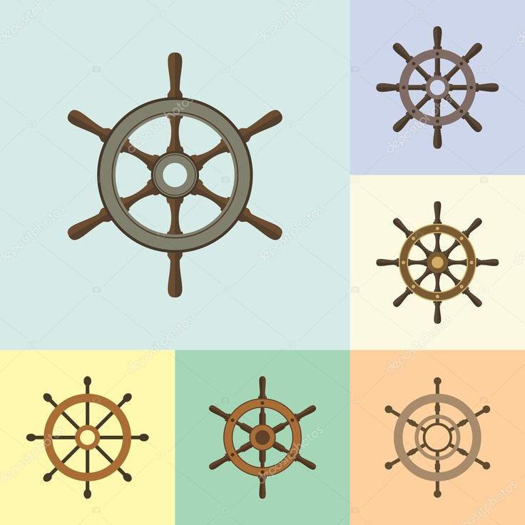 Скачать - Корабль руля руля плоские иконки набор — стоковая иллюстрация #120640950