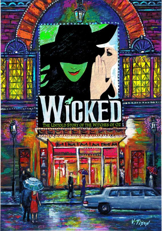 Wicked The Broadway Musical Show by vladtixon on Etsy, $74.99  Love this painting. It would look great in my office, don't you think?
