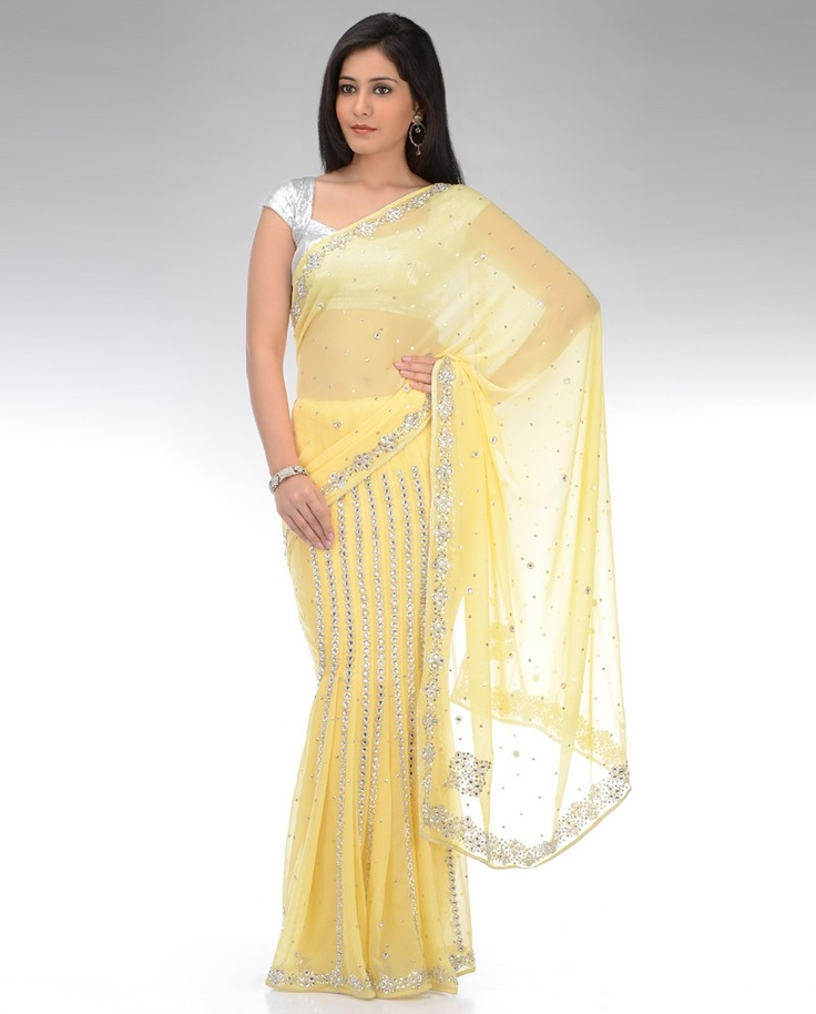 Flavescent Yellow Embellished Lengha Sari by DIA