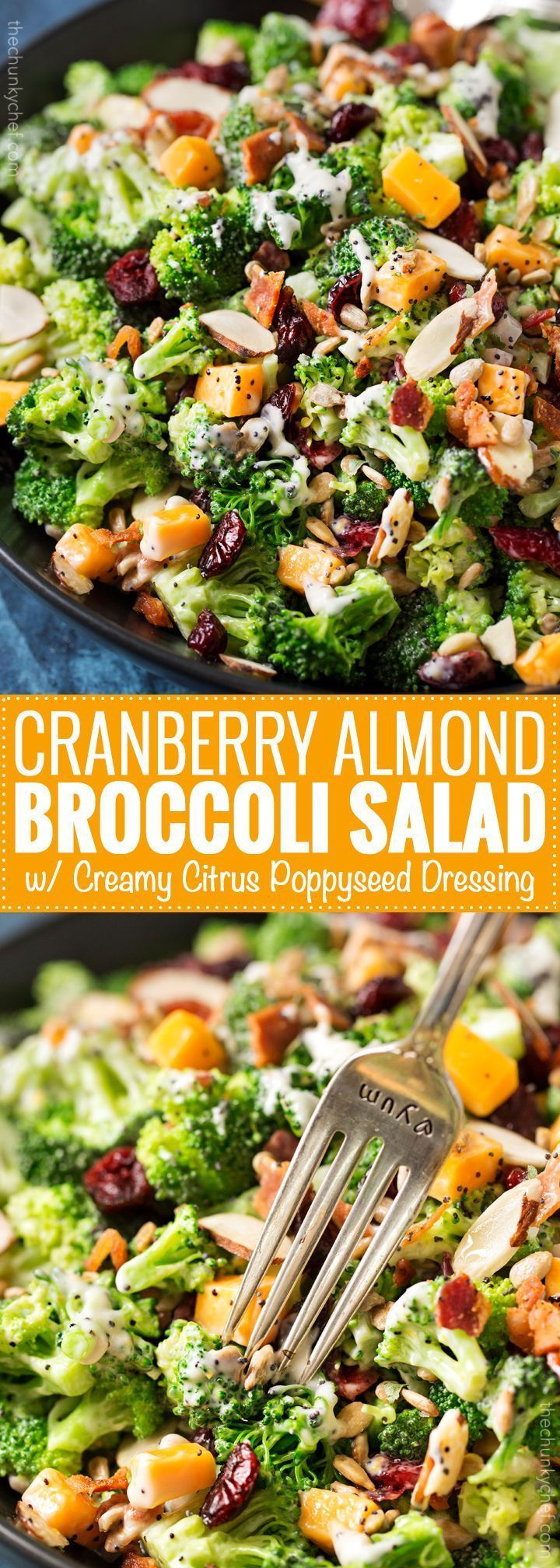 Cranberry Almond Broccoli Salad with Citrus Poppyseed Dressing  Classic broccoli salad is lightened up a bit, yet even bolder in flavor! It's the side dish everyone needs at their party!   thechunkychef.com