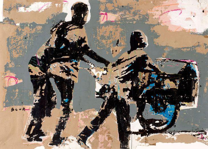 Armand Boua, Causerie, 2014, tar and acrylic on cardboard