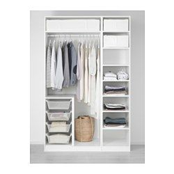 """IKEA - PAX, Wardrobe, soft closing hinge, 59x23 5/8x93 1/8 """", , 10-year Limited Warranty. Read about the terms in the Limited Warranty brochure.You can easily adapt this ready-made PAX/KOMPLEMENT combination to suit your needs and taste using the PAX planning tool.Hinges with integrated dampers catch the door and close it slowly, silently and softlyPerfect where space is limited since the frame is narrow.If you want to organize inside you can complement with interior organizers from the…"""