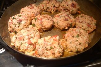 This recipe came about by accident.  I was hoping to make crab cakes for my family, and could not find fresh (not imitation or canned) crab meat anywhere! After mulling about the fish counter listing my options, I decided to make lobster cakes. I found them to be even more flavorful (and pretty) than any crab cakes I have had! I served them with homemade cole slaw and corn bread.