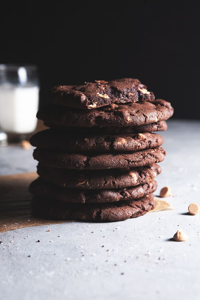 chocolate cookies with peanut butter chips