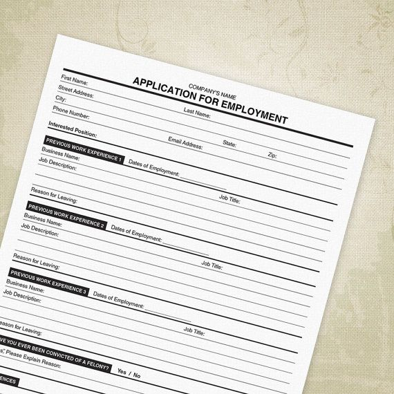 Application for Employment PDF, Now Hiring, Employment Application - Editable Custom Template, Digital File, Printable - INSTANT DOWNLOAD