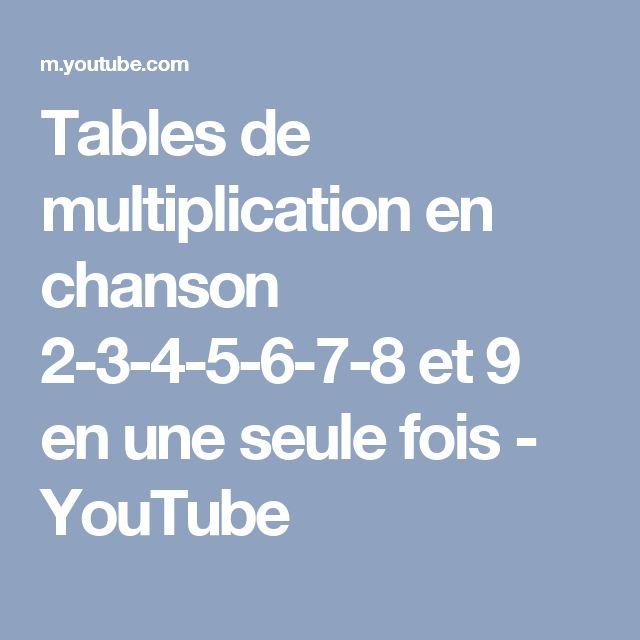 Tables de multiplication en chanson 2-3-4-5-6-7-8 et 9 en une seule fois - YouTube