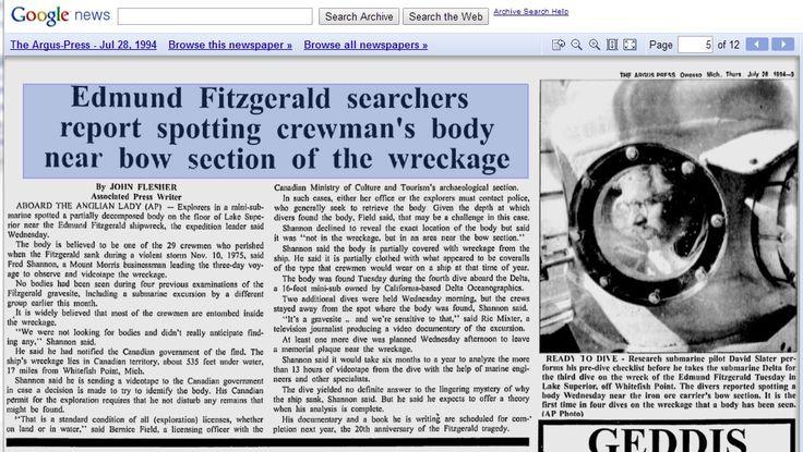 40 Years On, Family Memories Mark Edmund Fitzgerald ...  |Edmund Fitzgerald Crew Remains