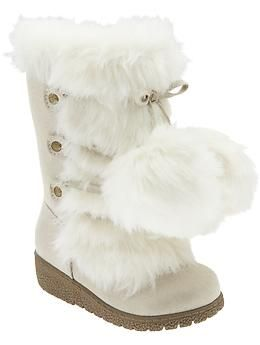 Faux-Fur Pom-Pom Boots for Baby