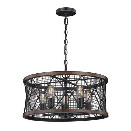 Patriot Lighting 174 Elegant Home Bodhi Black And Replica Wood 5 Light Pendant Home Dining Room