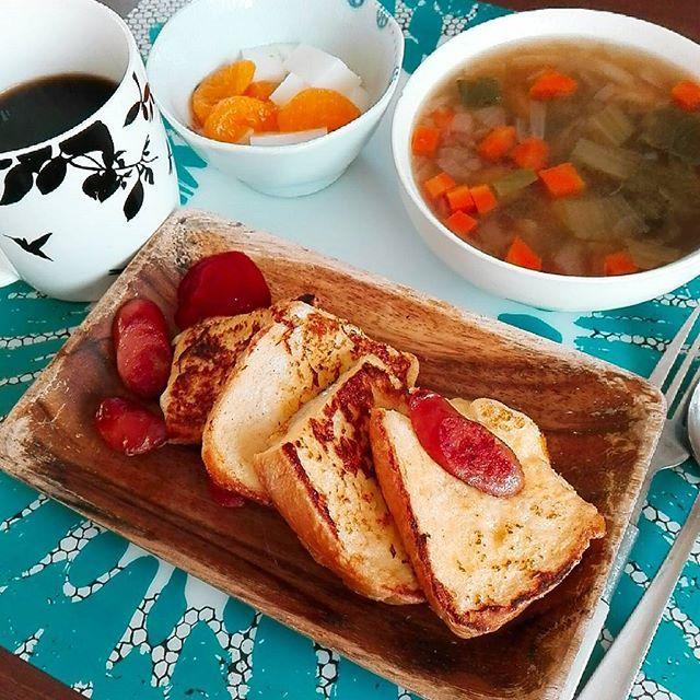 2016/11/11 07:59:49 shibubufumi 朝ごはん☕😃🌄 夫が出勤したあとにのんびり食べるのが好き(´- `*) コンソメスープ  甘くないフレンチトースト 牛乳寒天  牛乳寒天本当に美味しい  #お弁当#バランス弁当#お昼ごはん#ダイエット#筋トレ#健康#野菜#手料理#体作り#bento#lunch#healthy#vegetable#bodycontrol#cooking#有酸素運動#beauty#salad#日本#japan#美容#体質改善#美味しい#ごはん#お弁当#バランス弁当#お昼ごはん#ダイエット#筋トレ#健康#野菜#手料理#体作り#手作り#がっつり#献立  #健康