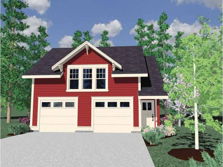 HWEPL66990 Tiny farmhouse-style cottage with two-car garage