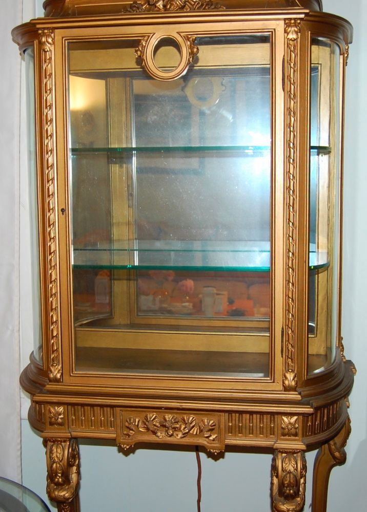19th Century French Curio Vitrine Display Cabinet Gold Gesso Curved Glass  #French #unknown