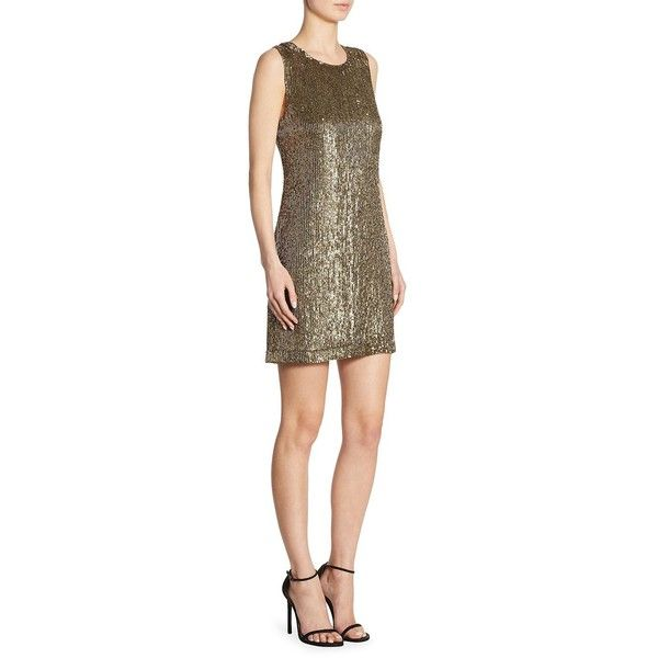 Polo Ralph Lauren Sequined Shift Dress ($598) ❤ liked on Polyvore featuring dresses, lining sleeveless dress, brown sequin dress, sequin shift dress, sequin dress and lined dress