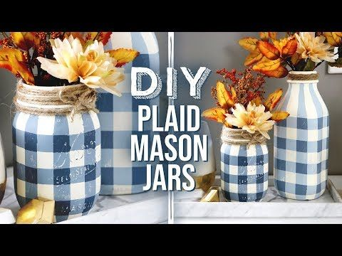 (7925) DIY Buffalo Plaid Mason Jars | Rustic & Far…