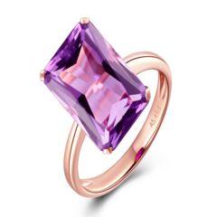 Chiara - Amethyst Square Rose Gold Cocktail Ring