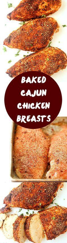 """Baked Cajun Chicken Breasts Recipe - """"The juiciest baked chicken breasts ever!"""""""