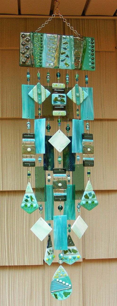 Kirks Glass Art Fused Stained Glass Wind Chime windchimes in Teal -  La Caribbean
