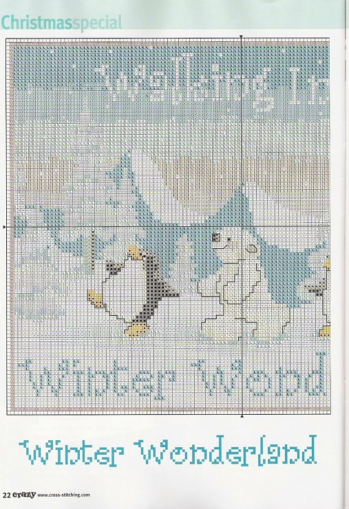 1---Walking in a winter wonderland cross stitch polar bear and penguin