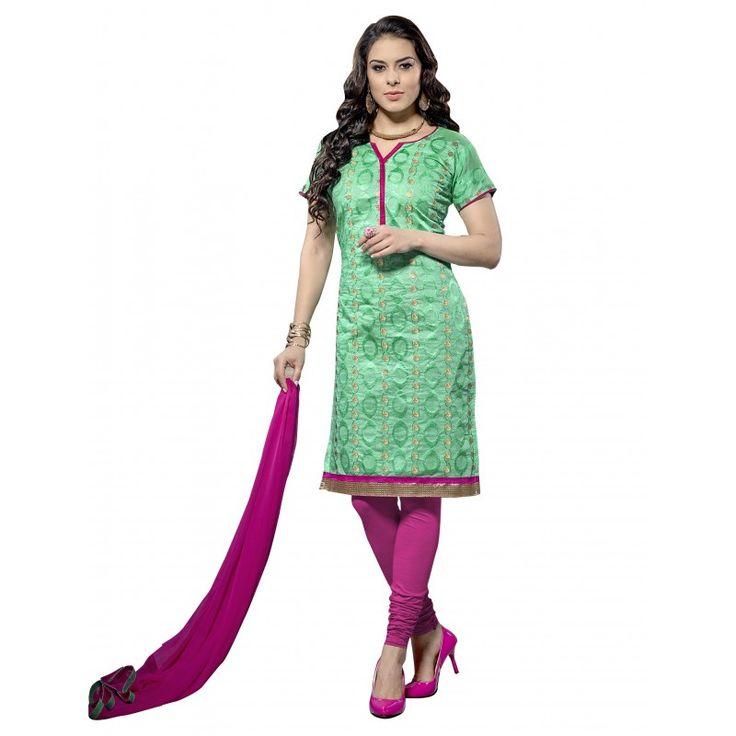 Casual Wear Chanderi Green Churidar Suit Dress Material  - 70030