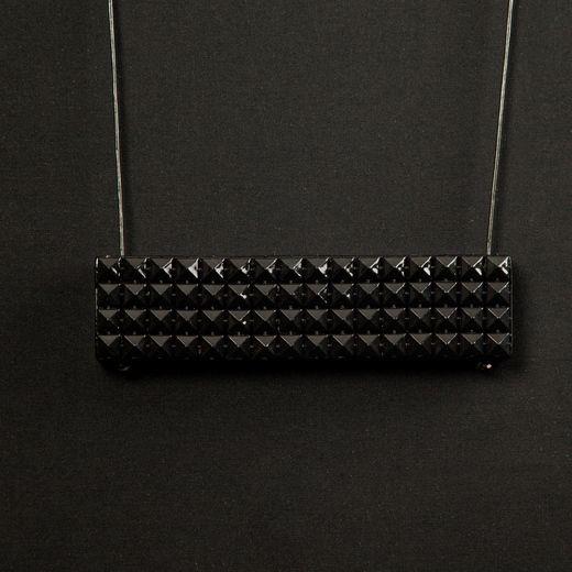 Black studded tofali necklace  darkroomlondon.com