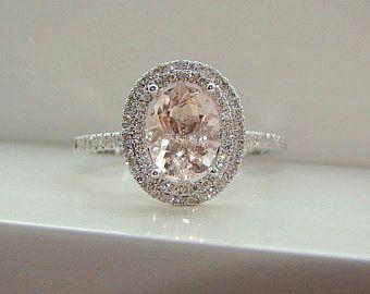 Oval Halo Peach Morganite Diamond Ring Gemstone Engagement Ring Wedding Pink Peach Blush Cushion Halo10K White Gold