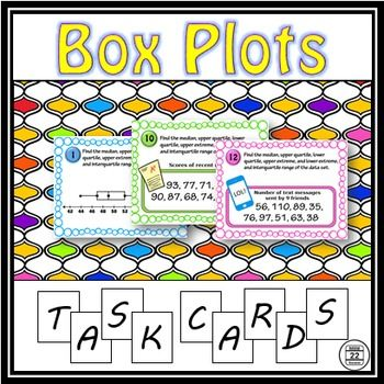Box Plots are also called box and whisker plots. This set includes 20 task cards focused on box plots. The card scenarios vary in difficulty, allowing for classroom differentiation. Task cards1-4: Using box plots to identify extremes, median, and quartiles5-8: Using extremes, median, and quartiles to create box plots9-12: Using data to identify extremes, median, and quartiles13-16: Using data to create box plots17-20: Analyzing and comparing box plots       An answer sheet (should be copied…