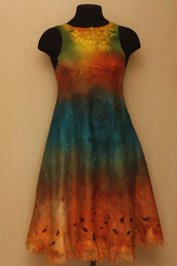 The colored flow / Felted clothing / Dress. $250.00, via Etsy.