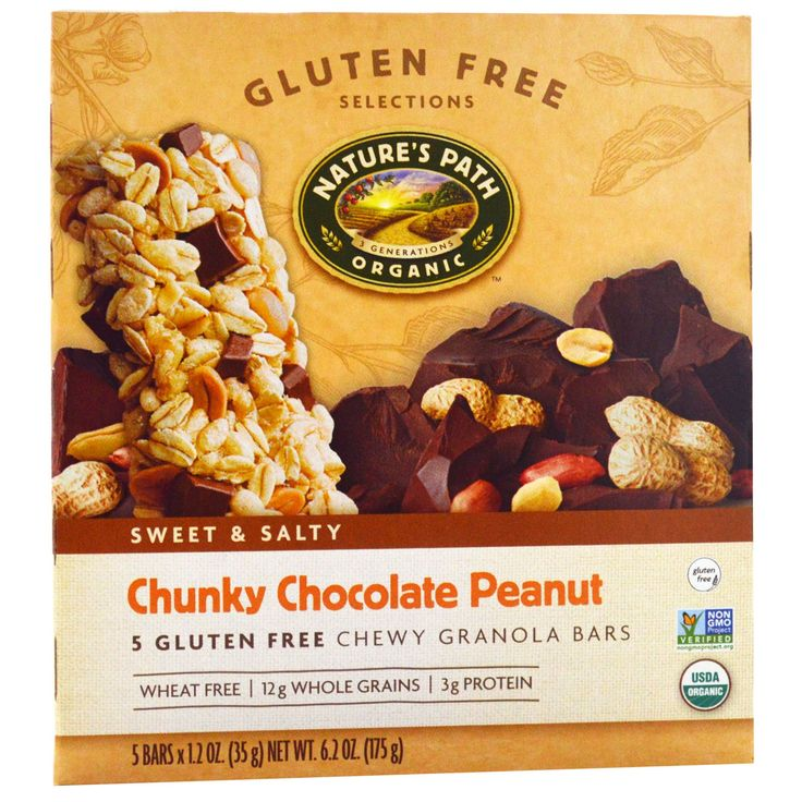 $4.69 Nature's Path, Gluten Free Selections, Chewy Granola Bars, Chunky Chocolate Peanut, 5 Bars, 1.2 oz (35 g) Each - iHerb.com