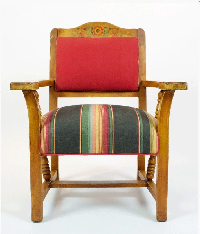 Great Looking Upholstery On A Vintage Monterey Style Armchair.