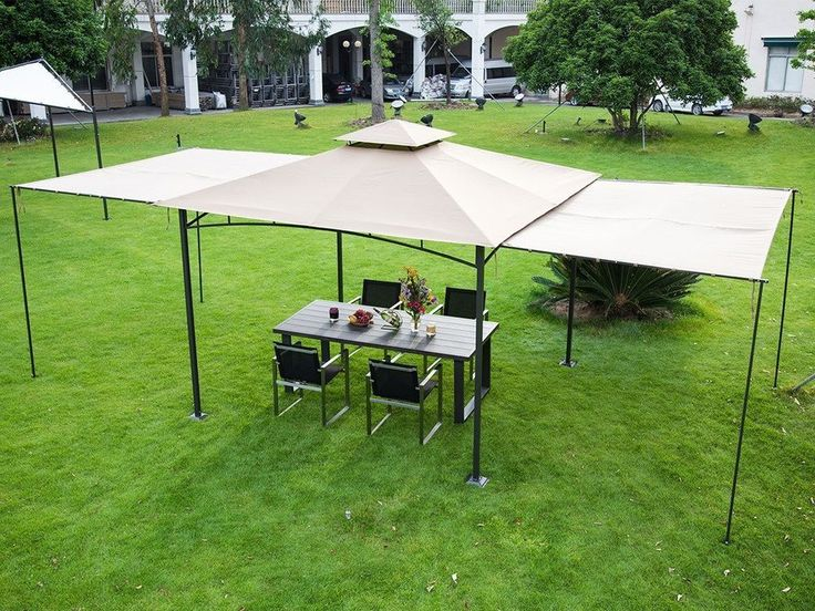 10u0027x10u0027 Outdoor Canopy Gazebo Tent With 2 Privacy Panels Art Steel Frame  Beige