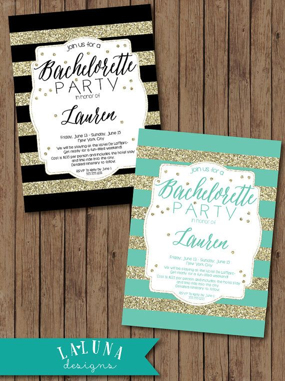 Bachelorette Party Invitation Glitter by LaLunaDesigns on Etsy. Click link and Scroll through these Lisa