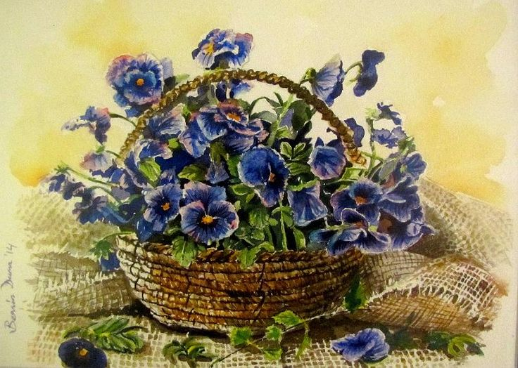 A basket of violets, original painting by Berrin Duma.