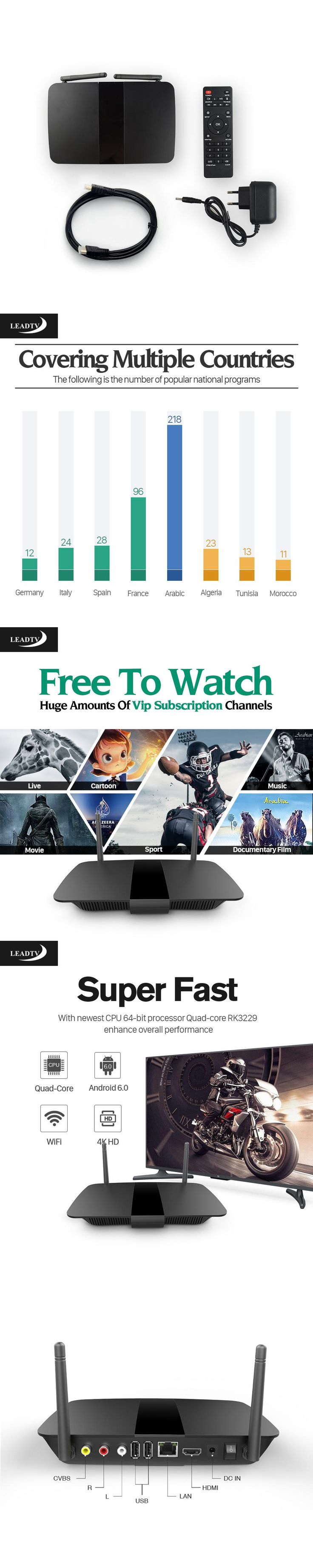 Q1504 Android IPTV Set Top Box ARM Cortex-A7 Quad Core Andriod 6.0 Player 700+ French Arabic Channels IPTV leadtv Subscription